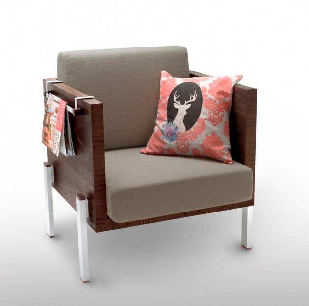 Yamaska collection, armchair, lichen fabric