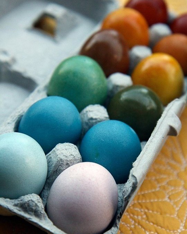 Easter, vibrant naturally dyed eggs. Source: kitchn.com