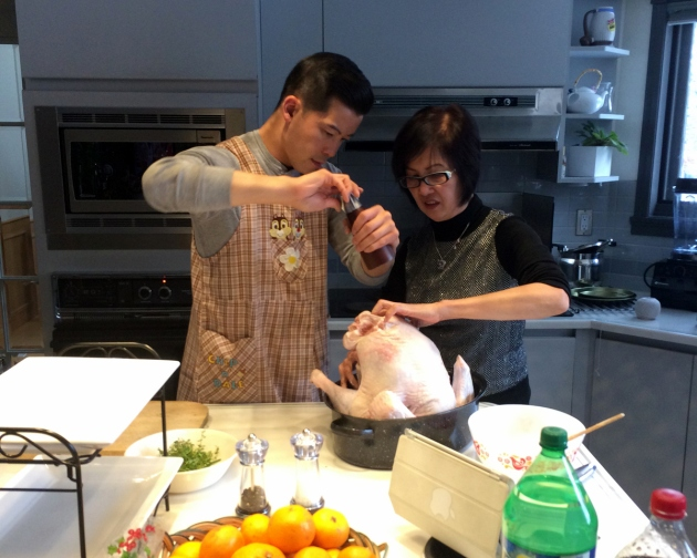 Joe and his mom, cooking