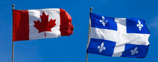 Quebec And Canada Flags