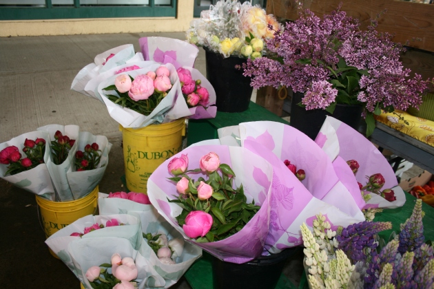 Peonies at the market