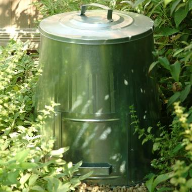 Composter in the garden - galvanized steel